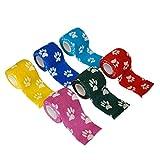 POPETPOP Involucro Nastro da 2 Pollici Sfuso Bende Colorate Stampate Sulla Zampa Fasciatura Autoadesiva Coesiva Fasciatura Non Tessuta per Cani Gatti Cavalli Animali Domestici Animali (Colore Casuale)