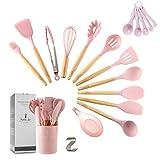 Zcoins, set di 11 utensili da cucina in silicone con manici e supporto in legno, set di utensili da cucina (rosa)