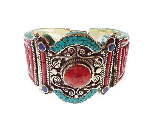 Handgemachte Multi Color große Manschette Armband Koralle, Türkis & Lapislazuli Edelstein Frauen Mädchen Männer, einzigartige Designer Mode versilbert Armreif tibetischen Boho Vintage Armband Schmuck