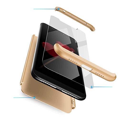 cmdkd Funda Compatible con Xiaomi Redmi Note 6 Pro,Case Bumper 3 en 1 Estructura 360 Grados Integral para Ambas Caras Hard Skin Carcasa + Cristal Templado.Oro