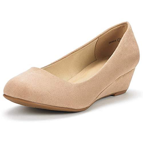 DREAM PAIRS Women's Debbie Nude Suede Mid Wedge Heel Pump Shoes - 10 M US