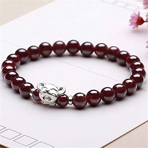 Feng Shui Riqueza Pulsera Garnet Crystal Beads Pulsera Curación Chakra Lucky Charms con 999 Pure Silver Rat Ornament Love Bangle Regalo de Joyería para Mujeres/Niñas