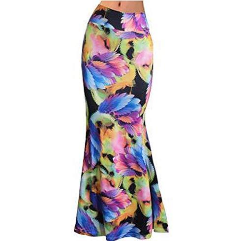 Paramise S-3Xl - Falda larga de cintura alta elástica para mujer