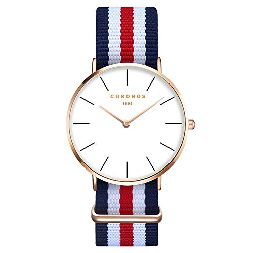 Xlordx - Orologio da polso da donna, unisex, elegante orologio al quarzo, alla moda, design senza tempo, colore: oro, cinturino blu, rosso e bianco