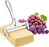 provone stainless steel adjustable wire cheese slicer cheese cutter for soft, semi-hard, hard