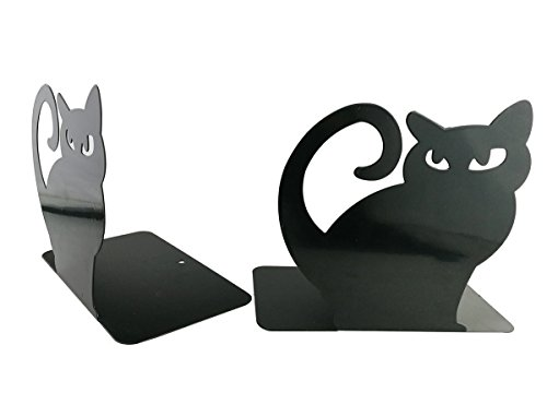 Cute Cartoon Persian Cat Metal Heavy Nonskid Bookends Bookend Art Book Holder Decoration,1 Pairs,Black