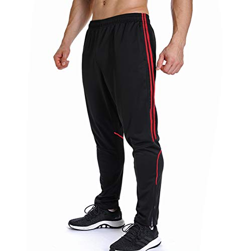 FITTOO Mens Athletics Workout Training Pants Sport Active Jogger Soccer Sweatpants Side Stripe Red(S)