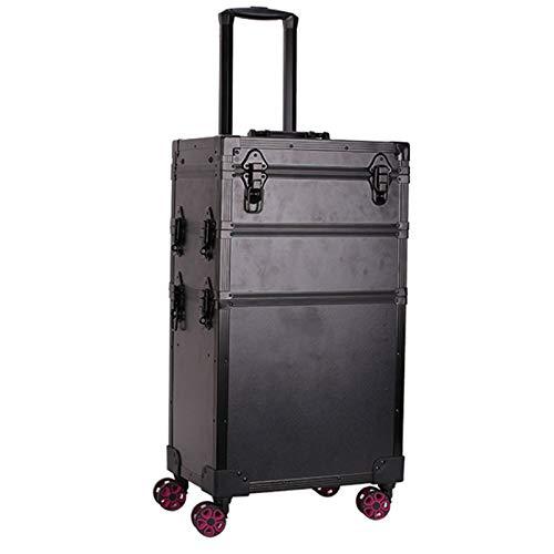 Valise à Cosmétiques Trolley à Maquillage Poignée rétractable avec lumières esthéticienne Organisateur boîte de Stockage Fauay,Noir