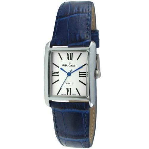 Peugeot Women's Silver-Tone Tank Shape Leather Dress Watch with Roman Numerals, Blue