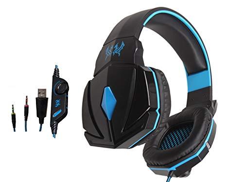 KOTION EACH G4000 Overear Stereo Gaming Cuffie Gaming Headset Archetto con Microfono e Controllo Volume per Laptop e PC Game (Nero & Blu)