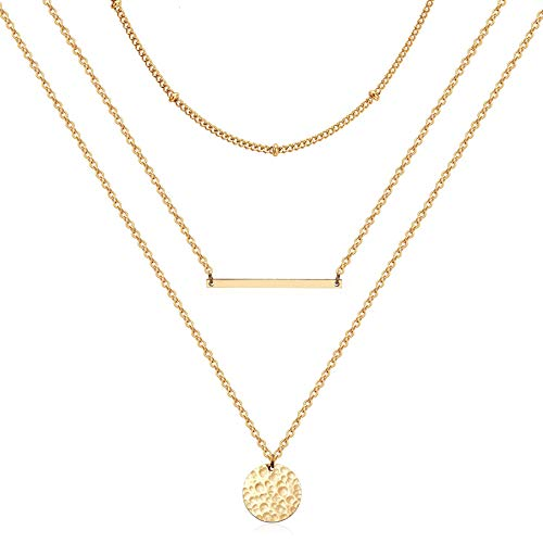 Estendly Gold Layered Bar Necklace Dainty Bead Necklace Layering Coin Pendant Y Necklace for Teen