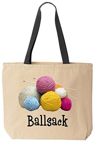 BeeGeeTees Ballsack Cotton Canvas Funny Tote Yarn Bag Reusable Knitting Crochet Bag