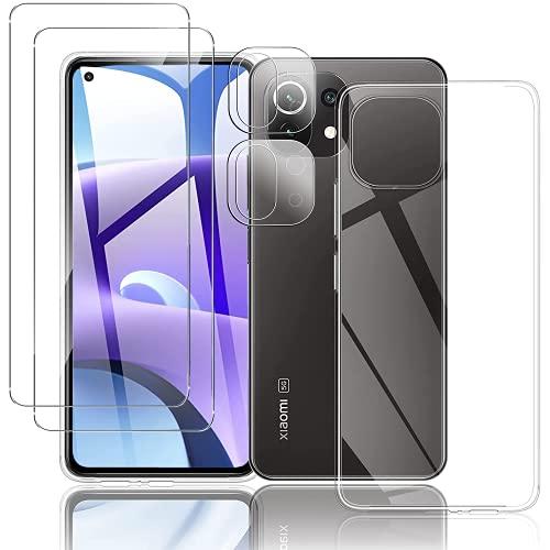 T-LUCOOK For Xiaomi Mi 11 Lite 5G フィルム(2枚入)+カメラフィルム(2枚入)+Mi 11 Lite 5G ケース 超薄 TPUクリア 強化ガラス 液晶保護フィルム 9H硬度 光沢 自動吸着 飛散防止 透明 耐衝撃カバー Mi 11 lite 5g ガラスフィルム 对芯