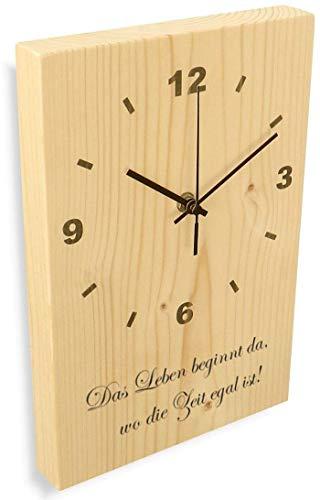 Holz Wanduhr aus massivem Natur Fichtenholz, Funkuhr Aufschrift 'Das Leben_' - flüsterleise Holzuhr massiv 30x20x3cm