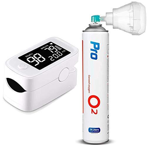 "Maclean PR-870 Pulsoximeter + PR-994 Medizinischer Sauerstoff 14L o2 99,4% mit Mundstück Fingerpulsoximeter mit 1.5"" HD LED Display"