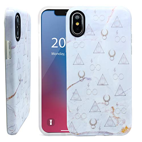 Unov Phone Case Soft Protective Slim TPU Shockproof Bumper Inside Design Support Wireless Charging Cover for iPhone X iPhone Xs 5.8 Inch (Marble Hallows)