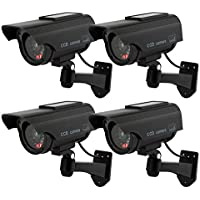 TOROTON 4 Pieza Cámara Falsa Dummy Cámara con Energía Solar de Seguridad LED Parpadeante Sistema de Vigilancia Cámara Simulada CCTV