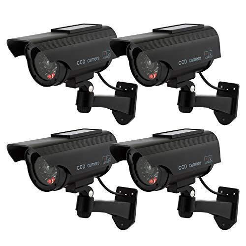 Hengu Telecamere Fittizie di Sorveglianza da Esterno/Interno Energia Solare Videocamera Antifurto con LED Lampeggiante CCTV d'Imitazione - 4 Pezzi