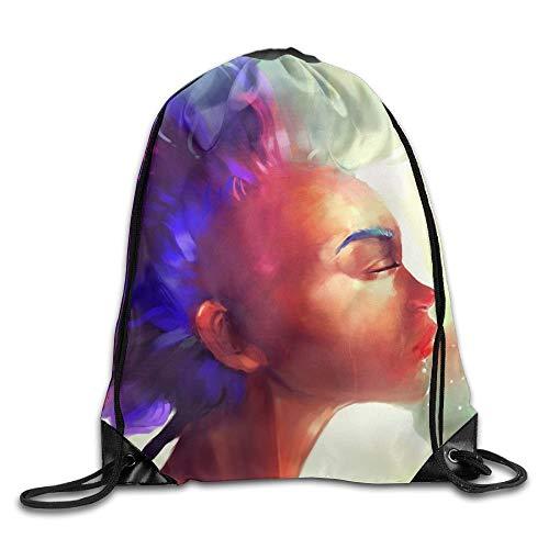 EU Gesicht Haarfarbe Bunte abstrakte Bilder Kordelzug Taschen Tragbarer Rucksack Reisesport Sporttasche Yoga Runner Daypack Schuhbeutel