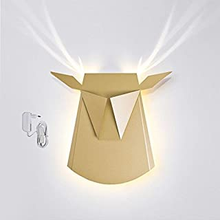 Popup Lighting Elegant Aluminum Wall LED Light Deer Head Fixture Electricity Plug in Gold