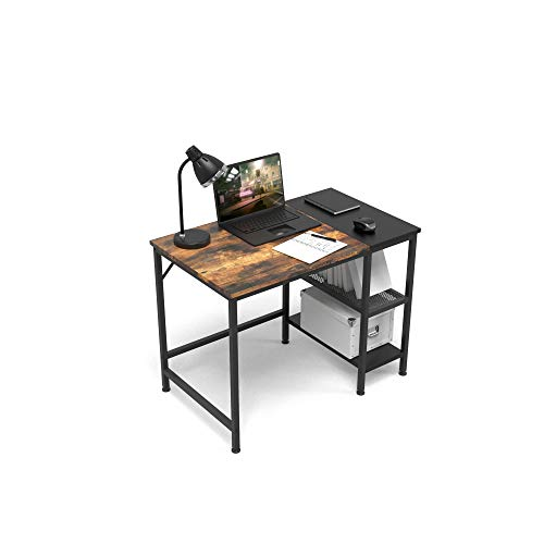 HOMIDEC 40quot Writing Computer Desk with Storage Shelves Office Work Desk for Small Spaces Writing Study Industry Modern Table for Bedroom Home Office
