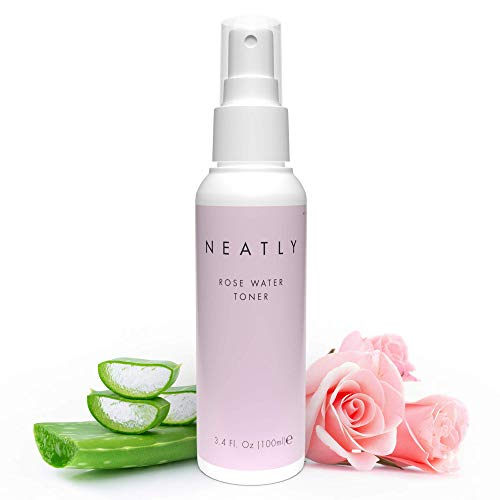 Neatly Organic Rose Water Toner for Face with Witch Hazel & Aloe Vera - Natural Face Toner for Women Anti Aging - Facial Toner for Sensitive Skin - Hydrating Skin Toner for Women Face - 3.4 Fl Oz