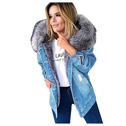 RENJIA IHGWE Damen Gefütterte Jeansjacke mit Fellkapuze Denim Jacket Kapuzenjacke Herbstjacke Winterjacke Outwear