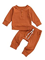 Newborn Infant Baby Girls/Boys Ribbed Sweatshirt Solid Long Sleeve T-Shirt Knit Top Pants Made of cotton fabric, soft, breathable, skin-friendly, comfortable for baby wearing Top features long sleeves, crew neck, two buttons decor at front, simple so...