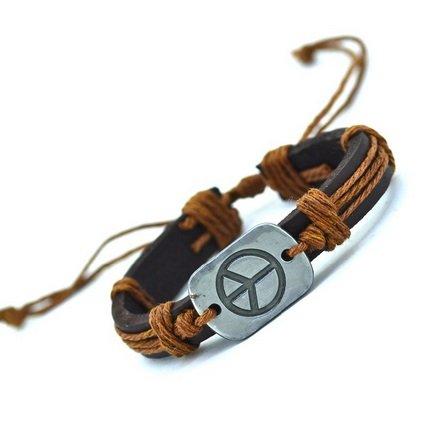 Peace Symbol Leder Armband | Frieden | Weltfrieden | Woodstock | Geschenk