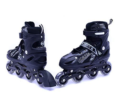 IRIS Inline Skates IR-201 Size 3-6 UK Adjustable, Medium (Black, 1 Pair)