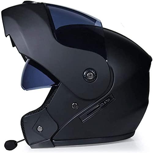 CHLDDHC Cascos Bluetooth para Motocicleta con Visera Doble abatible hacia Arriba, Casco para Motocicleta de Cara Completa Modular Integrado con Bluetooth, Casco Modular para Motocross Bluet