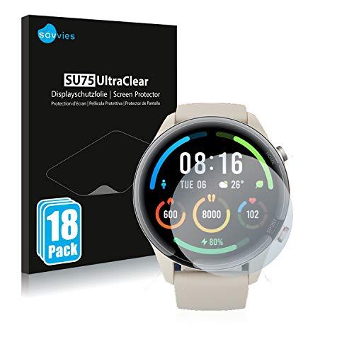 savvies Protector Pantalla Compatible con Xiaomi Mi Watch Color Sports (18 Unidades) Película Ultra Transparente