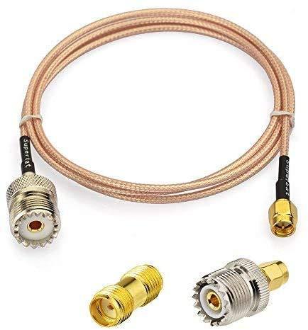 KYYKA Cable coaxial RF macho a UHF hembra SO-239 + 2 adaptadores SMA UHF hembra SO239 para aplicaciones de radio/radio CB, antena de radio de mano, walkie talkie etc.