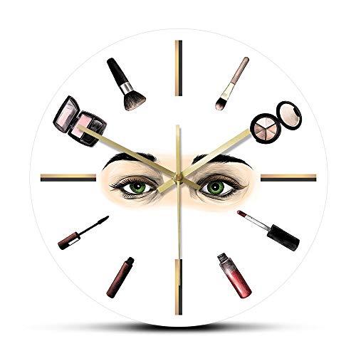 Cwanmh Wanduhr Wimpern Make-up Tool Schönheitssalon Wimpernverlängerung Druck Wanduhr Wimpern Logo Schönheitssalon Werbung Dekoration Wimpern Techniker Geschenk 3