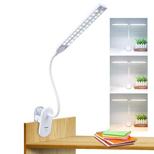 Luz de Lectura LED con Pinza, Lámpara de Escritorio Deaunbr 48 LED 2600mAh USB Recargable Luces de Libro Lámparas de mesa de Brillo Ajustable sin Escalonamientos para Cabecera de Cama, Hogar, Oficina