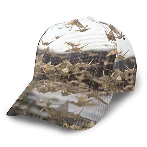 HARLEY BURTON Gorra de béisbol unisex de papel impreso entero grúas origami ornamento ajustable empalme Hip Hop Cap sombrero de sol negro