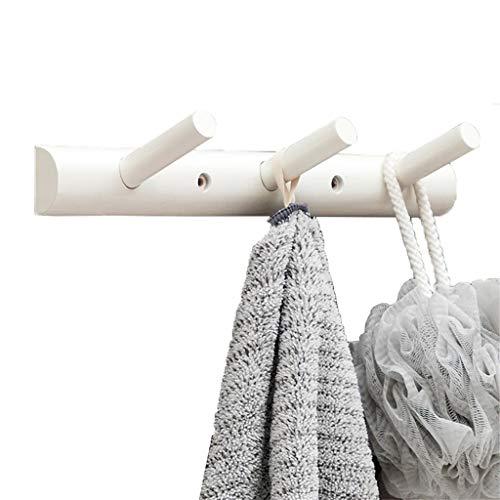 Planche de bois mur support de manteau cintre robe chapeau chapeau vêtements résistant couloir crochet crochet porte serviette (Color : White, Size : 3 hooks)