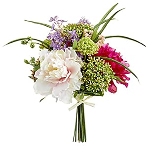 14″ Peony, Lilac & Snowball Silk Flower Bouquet -Beauty/Pink (Pack of 4)