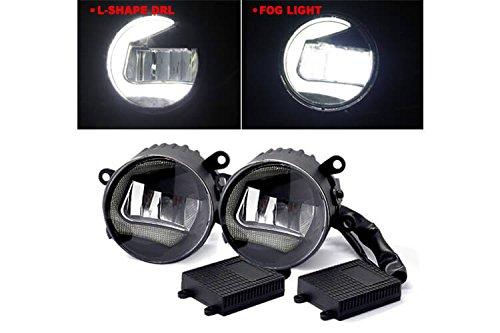 CARALL FS3515 Paar runde 3,5-Zoll-LED-Scheinwerfer mit 15 W Nebelscheinwerfer + Tagfahrlicht DRL L Form 7 W IP65 Durchmesser 90 mm
