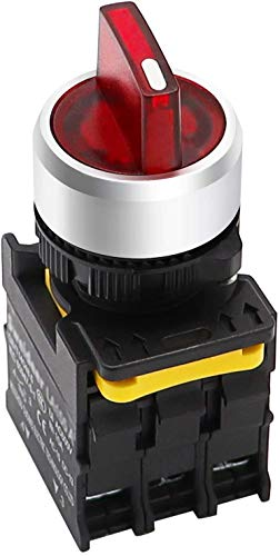 Tnisesm - Interruttore rotativo a LED rosso, 110 – 220 V, 22 mm, 2 NO 3 posizioni, impermeabile, IP65, 10 A, 600 V, LA155-A1-20XSD/FFU