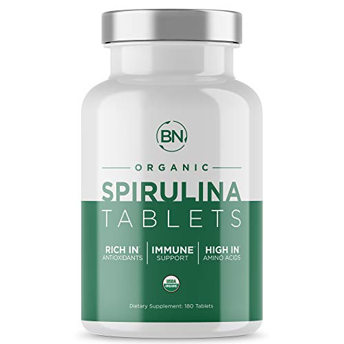 Spirulina Tablets Organic USDA Certified - RAW Nutrient Dense Over 70% Protein Per Serving - Purest Source Vegan Protein - Superfood - Rich in Vitamins and Minerals