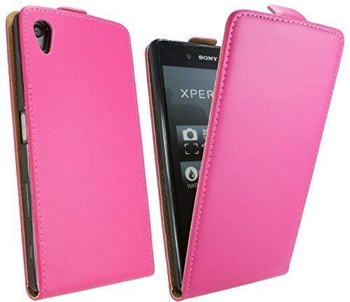 ENERGMiX Klapptasche Schutztasche kompatibel mit Sony Xperia Z5 Premium in Pink Tasche Hülle