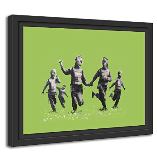 Printed Paintings Schattenfugenrahmen (100x70cm): Banksy - Police Officers in Field Polizei-Offiz