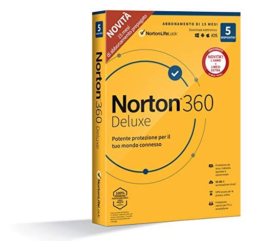 Norton 360 Deluxe 2021, Antivirus per 5 Dispositivi, Licenza