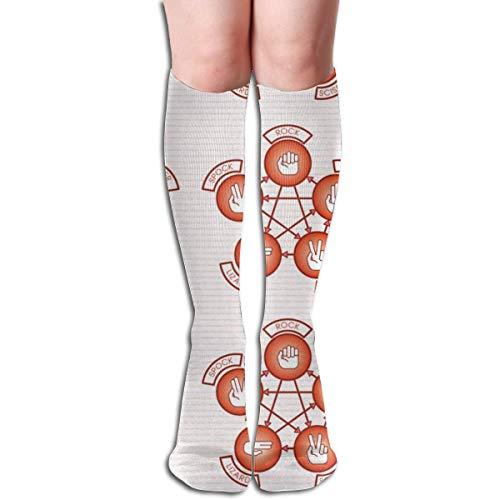 akingstore Piedra, papel, tijera, lagarto, Spock (rojo) Tubo de mujer Rodilla Muslo Medias altas Calcetines de cosplay 50cm (19.6 pulgadas)
