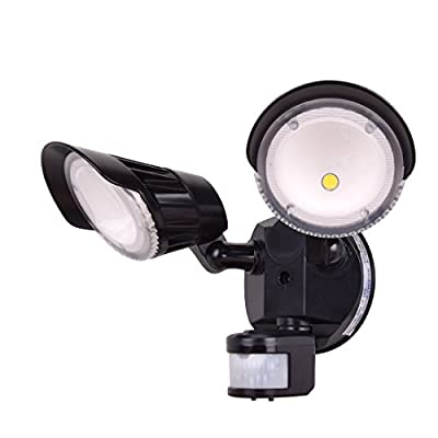 LED Dual-Head Security Light, Outdoor Motion Sensor Light, 20W (250W Equivalent)?COB LED, 2400lm, 5000K (Daylight),120V, Instant On, 180° Wide Angle ,Adjustable Head