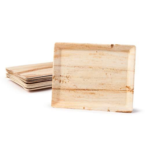 Bandeja plato de Hoja de Palma biodegradable orgánica ecologica desechable sostenible y compostable. Fiestas Eventos Bodas Picnic barbacoas Catering. (32,5 x 27 cm, 24 unidades)