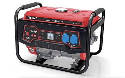 iTools by VITO Stromerzeuger, 2.5kVA, 5.5PS 4-Takt Benzinmotor, 2200 W, 16A, 2x 230V, 65dB Lwa, 34kg, 10l Tankvolumen, Garage und Camping Generator mit AVR-Funktion, mit Ölsensor, Laufzeit bis zu 12h