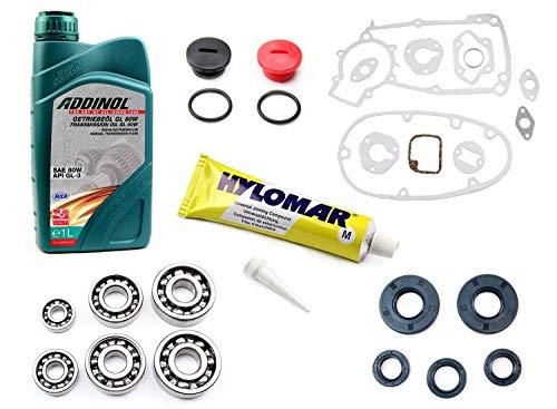 Motor-Regenerationsset für Simson S50 3 Gang, mit SNH Kugellager, Dichtsatz, Getriebeöl GL 80W, Hylomar Flüssigdichtung, Wellendichtringe, Verschluss-Schrauben