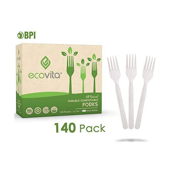 100% Compostable Forks - 140 Large Disposable Utensils (7 in.) Eco Friendly Durable and Heat Resistant Alternative to…